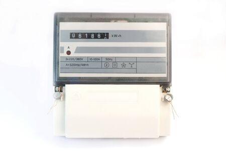 contador electrico: Metro eléctrico aislado en fondo blanco