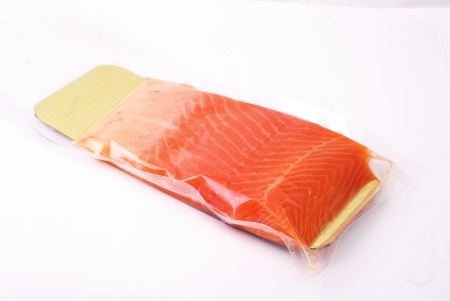 salmon fillet in vacuum pack  Isolation