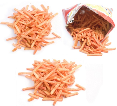 French fries  with seasonings on white photo