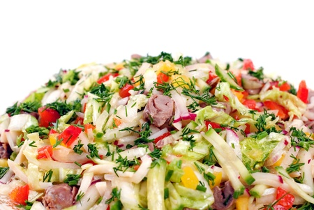 chiken: serving of healthy vegetables salad with chiken heart