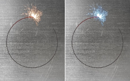 Sparks during cutting of metal by gas welding  photo