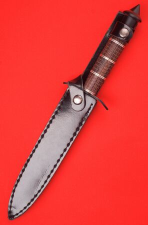 knife in holster on red background photo