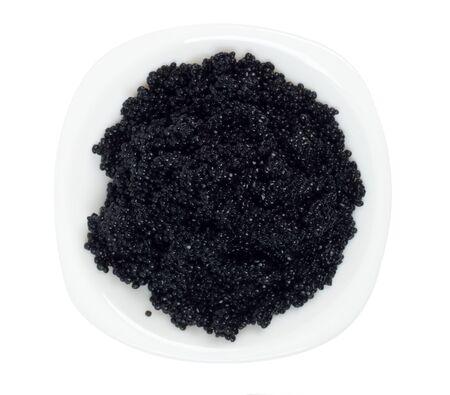ceramic plate with black caviar on white background Stock Photo - 13446843
