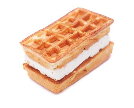 pastila: belgian waffle with pastila isolated on white Stock Photo