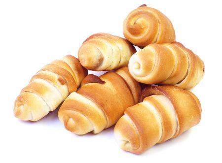 Delicious freshly baked croissants on white background photo