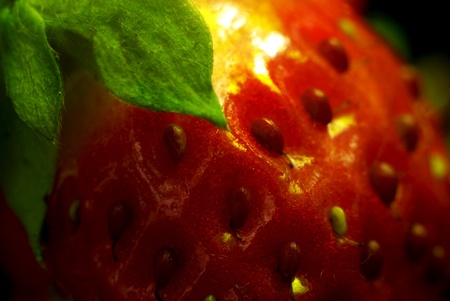 creative strawberry of close up, macro shot photo