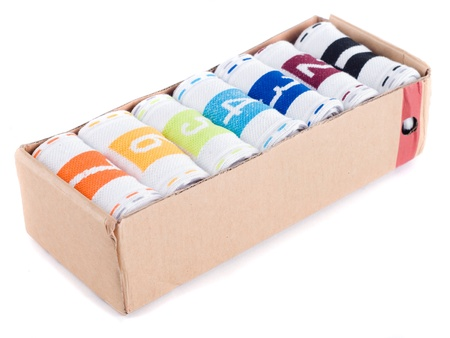 4 7: creative seven socks ib cardboard box on per day. isolated on white