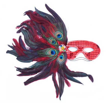 red carnival mask, isolated over white  photo