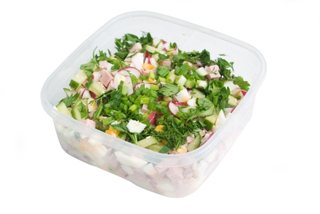 plastic box: russian eat okroshka in plastic container osolated on white
