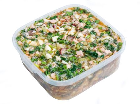 osolated: russian eat okroshka in plastic container osolated on white