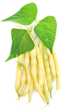 yellow kidney beans with leaf isolated on white photo