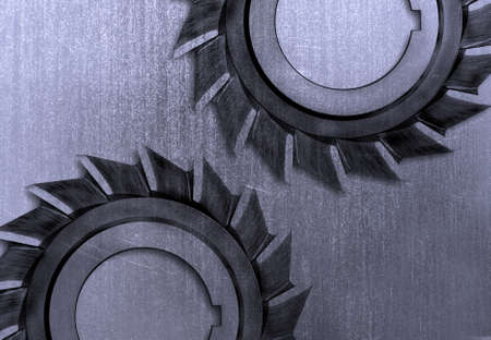 Industrial metal scratched with gears photo
