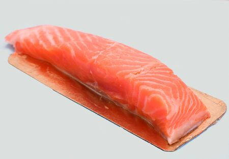 rout: piece of red fish fillet isolated on white Stock Photo