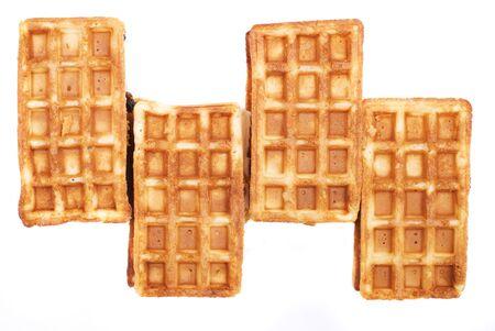 pastila: four belgian waffle with pastila isolated on white Stock Photo