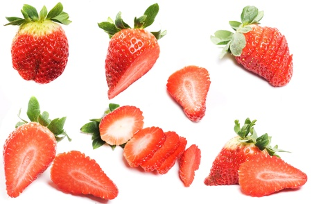 set of cut strawberry isolated on white Stock Photo - 13445377