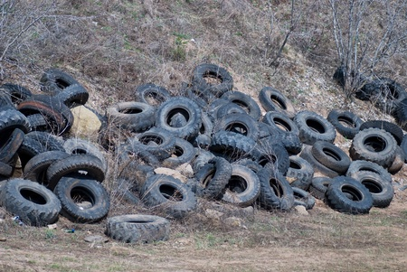 Illegal tire dump in forest photo