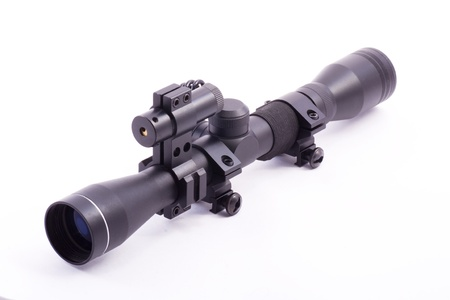 hunting rifle: laser rifle scope with laser isolated on white