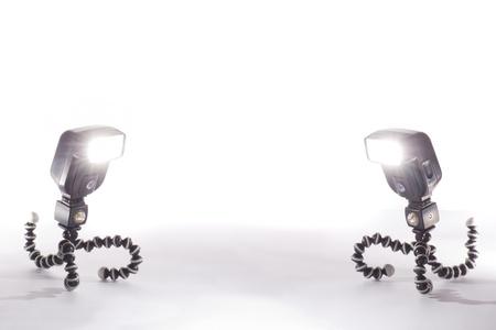 two camera flash isolated on white background Stock Photo - 16332750