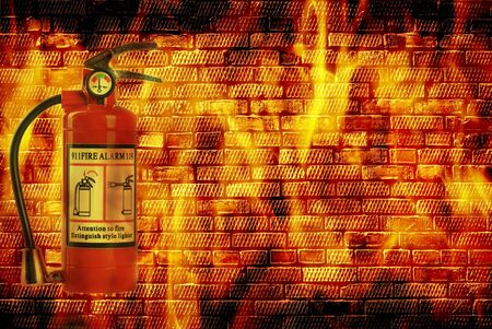 fire extinguisheron  wall with flame  Stock Photo - 21939292