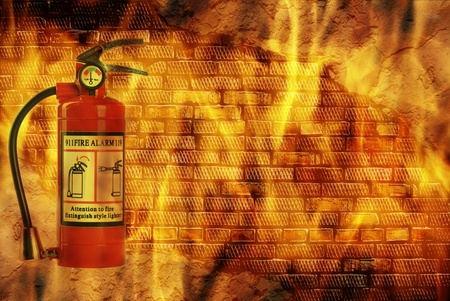 fire extinguisheron  wall with flame  Stock Photo - 21939293