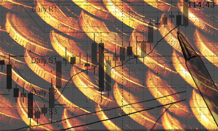 golden piles of coins close up texture with currency trading chart Stock Photo - 22466466