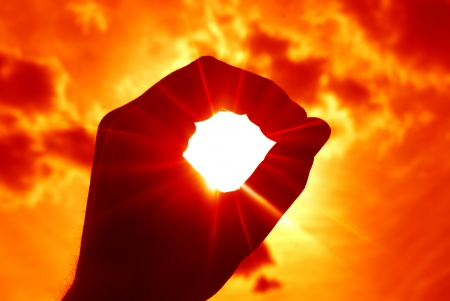 handsignal: ring of fingers on sunset