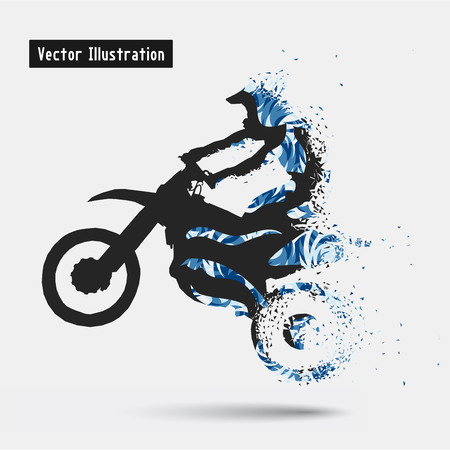 strive: Motorcycle Riders. Vector eps10 illusration. Particle divergent composition Illustration