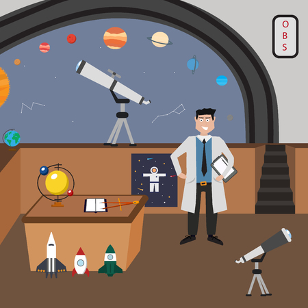 optical people person planet: Astronomy vector icon set. A collection of space themed symbols including a planet, spaceman, astronomer, telescope, rocket and solar system.