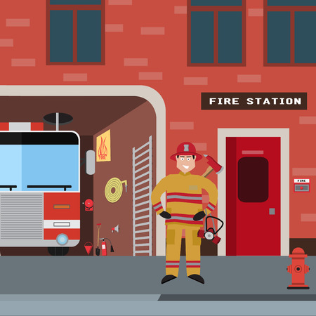 fire brigade: Firefighter vector icon set. A collection of fire themed symbols including firefighter, fire truck and fireman,, attributes, sets fire brigade. Vector eps10 illustration.