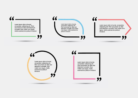 Quote blank template. Empty quote bubble. Quote form. Quote citation blank template. Векторная Иллюстрация