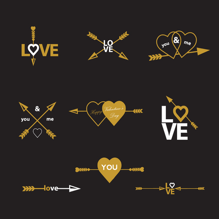 14: Happy valentines day cards with arrow. typography elements. Valentines day set. I love you vector icon. 14 february.