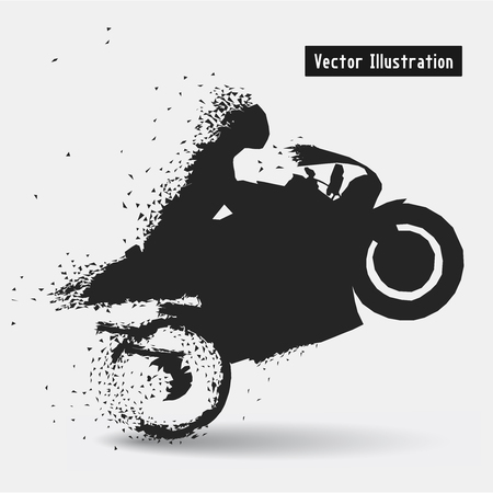 the particles: Motorcycle Racing Riders. Vector eps10 illusration. Particle divergent composition