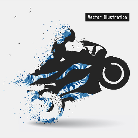 particles: Motorcycle Racing Riders. Vector eps10 illusration. Particle divergent composition