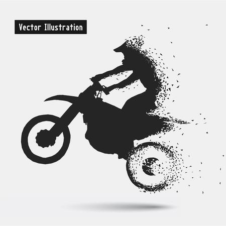 silueta ciclista: Los conductores de motocicletas. Vector eps10 Illusration. Partículas composición divergente