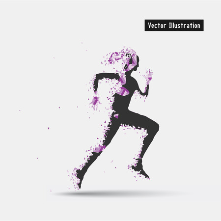 strive: Running Woman, Vector eps10 illusration. Particle divergent composition