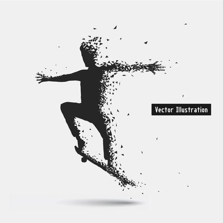 to strive: Skateboarding. Vector eps10 illusration. Particle divergent composition