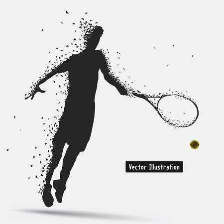 strive: Tennis Player, Vector eps10 illusration. Particle divergent composition