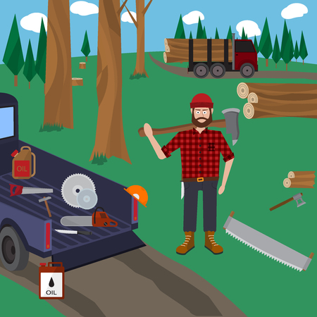 lumberjack: Lumberjack vector icon set.
