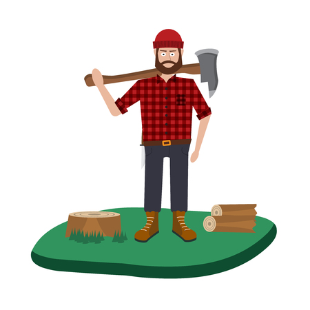 woodsman: Lumberjack vector icon set. A collection of Lumberjack themed symbols Illustration