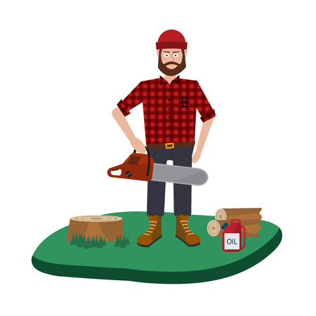 lumberjack: Lumberjack vector icon set. A collection of Lumberjack themed symbols Illustration