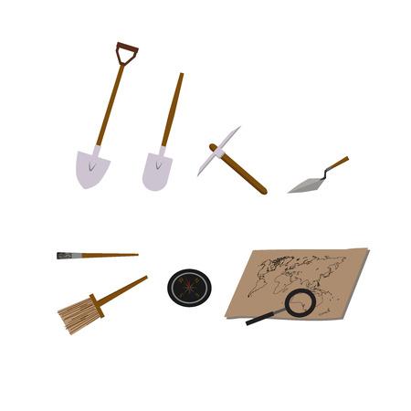 ilustraciones vectoriales arqueología. arqueología símbolos vectoriales.