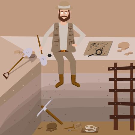 paleontological: Archeology vector illustrations. Archeology vector symbols.