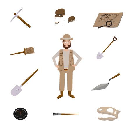 Archeologie vector illustraties. Archeologie vector symbolen. Vector Illustratie
