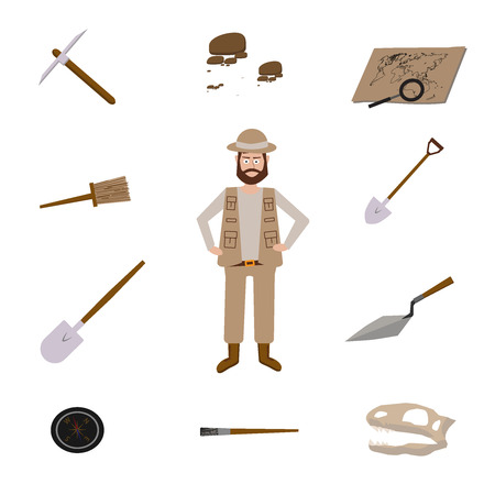 excavator: Archeology vector illustrations. Archeology vector symbols.