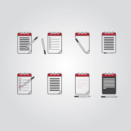 note pad and pen: Set of notebook, notepad vector eps10 icon. Illustration