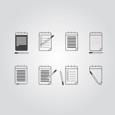 sketchpad: Set of notebook, notepad icon.