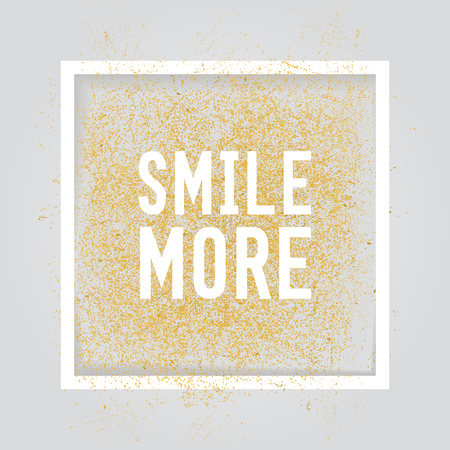 Smile More. Motivation square poster. Text lettering of an inspirational saying.