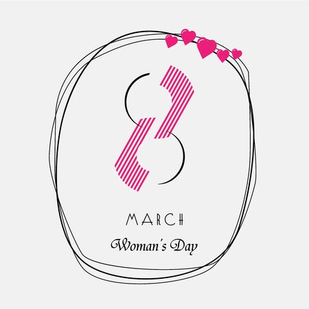 womens: March 8. International Womens Day. Illustration