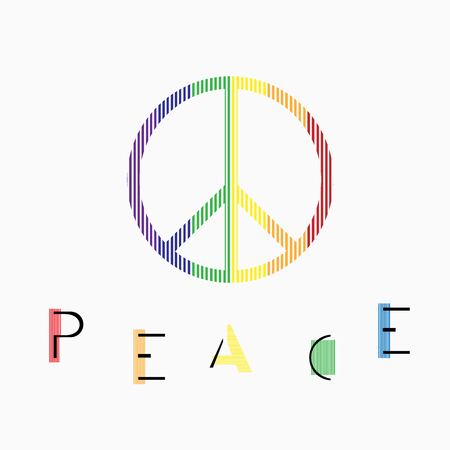 pacifist: Peace symbol on white background.