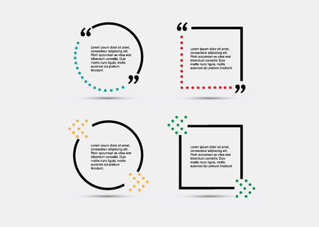Quote blank template. Empty quote bubble. Quote form. Quote citation blank template. Blank template with print information design quotes. Color quote bubble. Vektorové ilustrace